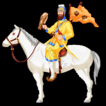 Guru Gobind Singh Jayanti الهندي الزعيم الديني ركوب الخيل الأبيض حصان البرتقال معركة العلم النسر صور PNG قالب PSD