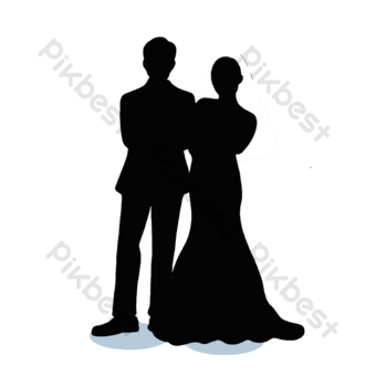 Silueta de tema de boda romántica Elementos graficos Modelo PSD