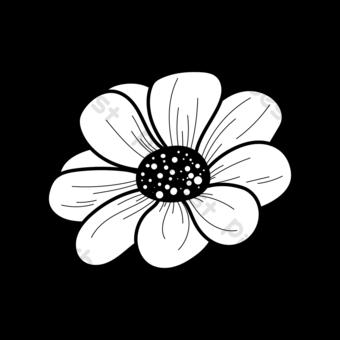 흑인과 백인 라인 흰색 데이지 꽃 클립 아트 흑백 일러스트 템플릿 AI