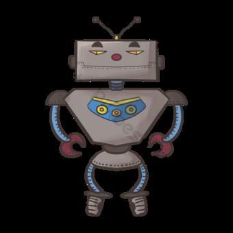 Grey Mal Robot Clip Art Elementos graficos Modelo PSD