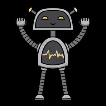 Gris lindo simple robot clip art Elementos graficos Modelo PSD