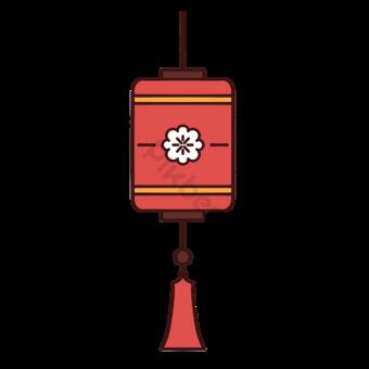 Linterna roja para patrón de flores Elementos graficos Modelo PSD