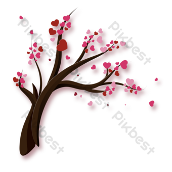 Silueta de árboles con flores de amor. Elementos graficos Modelo PSD