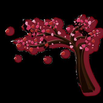 Silueta de árbol de un amor flores Elementos graficos Modelo PSD