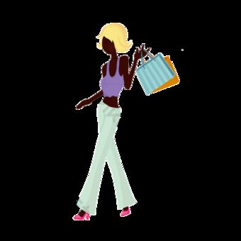 캐주얼 여자 쇼핑 클립 아트입니다 일러스트 템플릿 PSD