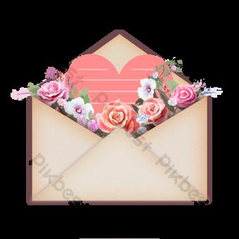 Carte de voeux d'enveloppe cadeau de la mère Éléments graphiques Modèle PSD