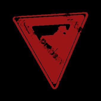 Triángulo rojo Gran sello de pared Sello retro Punto escénico Elementos graficos Modelo PSD