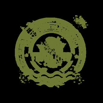 Sello de flor verde Retro Punto escénico Elementos graficos Modelo PSD