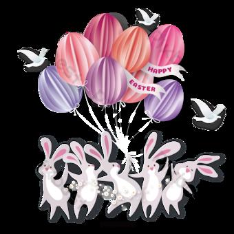 復活節兔子雞蛋戒菸跳舞動物紙 元素 模板 AI