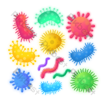 hand-drawn virus bacterial microbial group diagram PNG Images Template PSD
