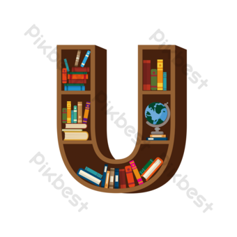Bibliothèque dessinée à la main Carte du livre tridimensionnel Éléments graphiques Modèle PSD