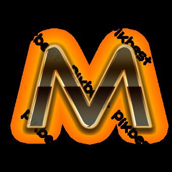 خطاب M رسائل معدنية سوداء صور PNG قالب PSD