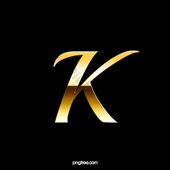 رسالة K رسائل معدنية الذهب الأسود صور PNG قالب PSD