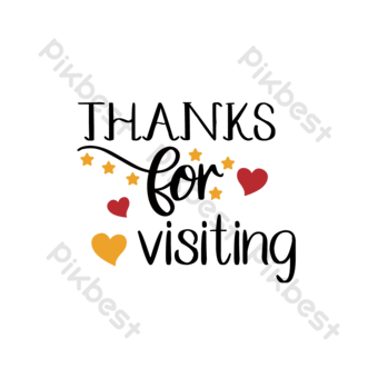 drawing love thank you for visiting red font PNG Images Template EPS