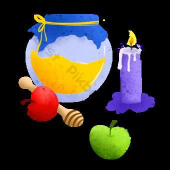 السنة اليهودية الجديدة رسمت باليد نمط التكتيك صور PNG قالب PSD