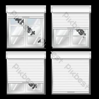 Белая дверь и окно Графические элементы шаблон EPS