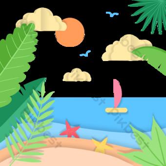 summer seaside paper cut landscape PNG Images Template PSD