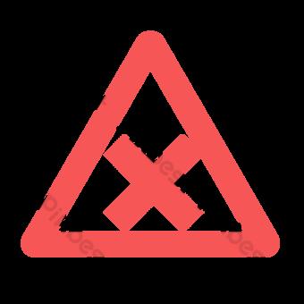 Señal de tráfico cruzado en triángulo rojo Elementos graficos Modelo PSD