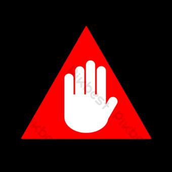 Frontera negra y señal de tráfico de palma blanca en triángulo rojo Elementos graficos Modelo PSD