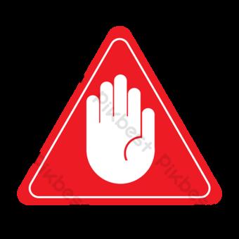 Frontera blanca y señal de tráfico de palma en triángulo rojo Elementos graficos Modelo PSD