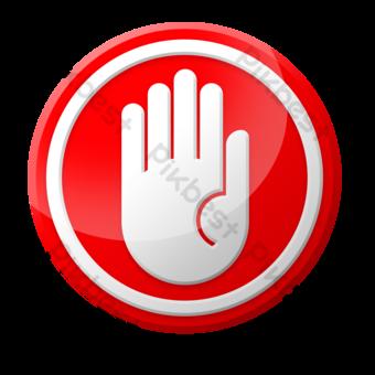 Frontera blanca y señal de tráfico de palma en redondo rojo Elementos graficos Modelo PSD