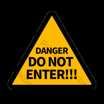 Señal de tráfico en inglés negro en borde negro en triángulo amarillo Elementos graficos Modelo PSD