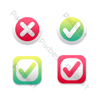 check box mark symbol gradient element PNG Images Template PSD