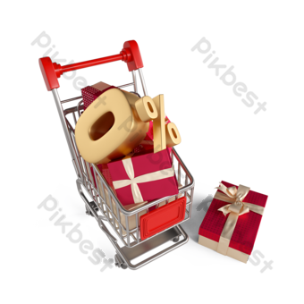 gift box shopping cart zero interest rate 3d element PNG Images Template PSD