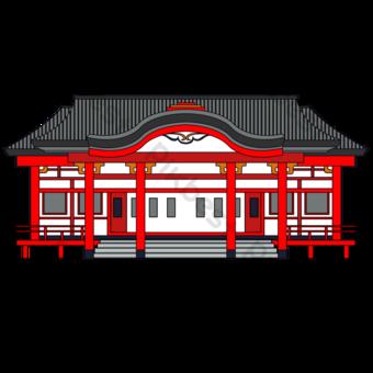 Piso simple tradicional templo japonés arquitectura Elementos graficos Modelo PSD