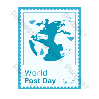 world post day stamp earth envelope send PNG Images Template PSD