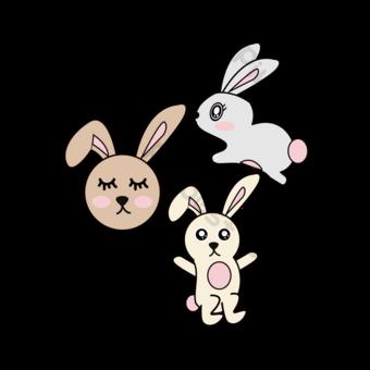 SVG سعيد للقفز الأرنب الأبيض لطيف صور PNG قالب EPS