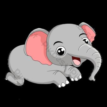 손으로 그린 핑크 코끼리 만화 클립 아트입니다 일러스트 템플릿 PSD