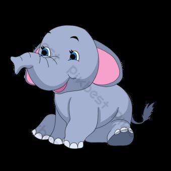 손으로 그려진 된 만화 회색 코끼리 클립 아트 일러스트 템플릿 PSD