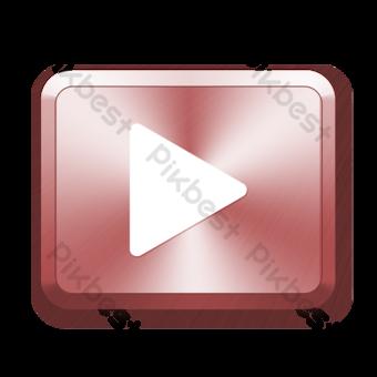 Botón de juego rojo de dibujos animados Elementos graficos Modelo PSD