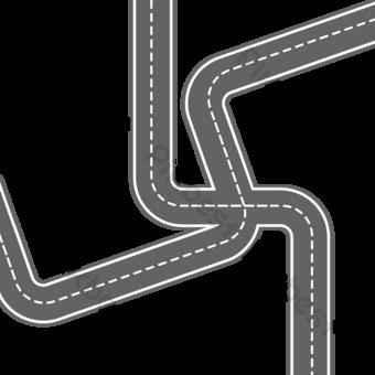 منحني الكرتون الحصان الطريق مجمع الصليب الطريق الحضرية الطريق الديكور صور PNG قالب PSD