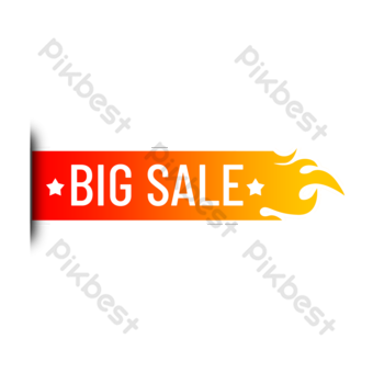 Super sale red flame label PNG Images Template PSD