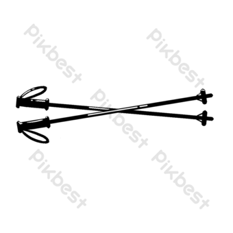 Ilustración en blanco y negro de dibujos animados palo de esquí Elementos graficos Modelo PSD