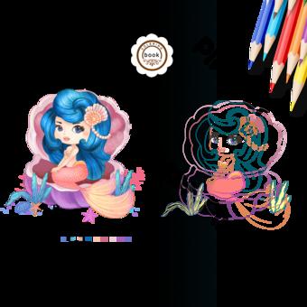 coloring book cute mermaid seashell cartoon PNG Images Template PSD