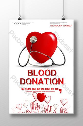 desain poster donor darah ringkas gratis Templat PSD