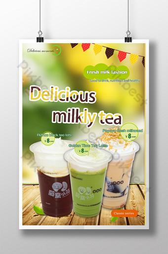 Plakat z herbatą mleczną Szablon PSD