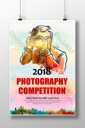 Màu nước vẽ tay cuộc thi nhiếp ảnh thiết kế poster Bản mẫu PSD