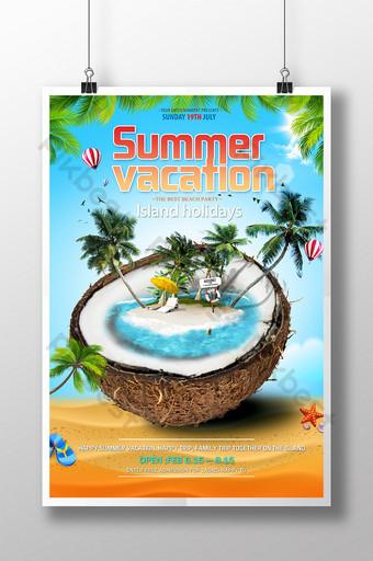 Poster ng paglalakbay sa isla ng malikhaing tag init Template PSD