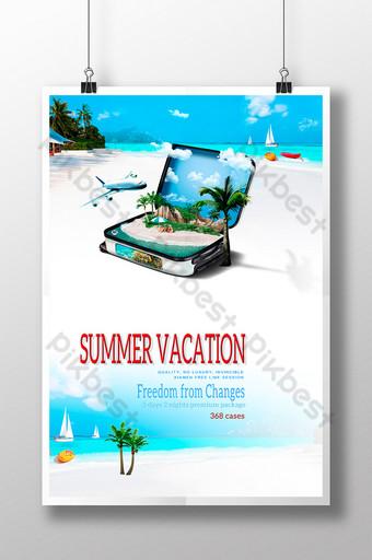 Poster sa paglalakbay ng isla ng tag init Template PSD