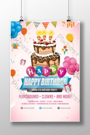 desenho animado desenhado à mão feliz aniversário Modelo PSD