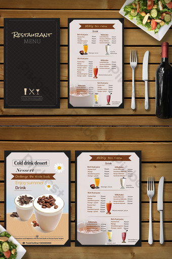 tienda de té con leche catering diseño de menú de comida Modelo PSD