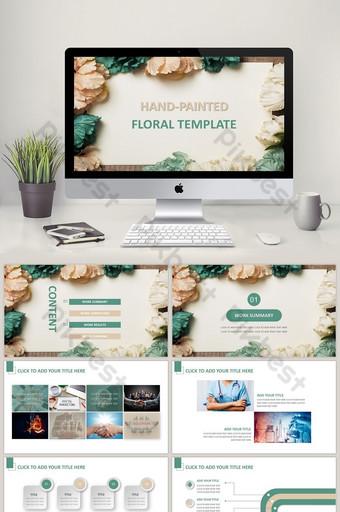 Ang sariwang fashion art na Han Fan Xiaoqing kamay ay nagpinta ng floral PPT template PowerPoint Template PPTX