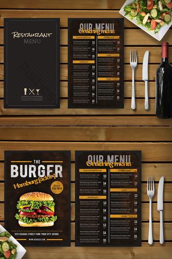 การออกแบบเมนูอาหารจานด่วนเบอร์เกอร์สไตล์วิทยาลัย แบบ PSD