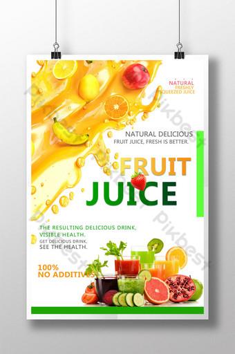 Simpleng inumin ng sariwang disenyo ng poster ng juice Template PSD