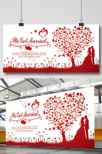 Rouge laissez nous marier signe de mariage dans le panneau d'affichage de stand Modèle PSD