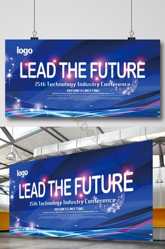 quadro de exposição de fundo azul de tecnologia empresarial futura Modelo PSD